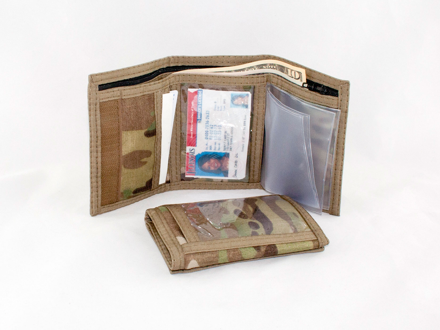 camouflage rfid trifold wallet with outside id window multi cam