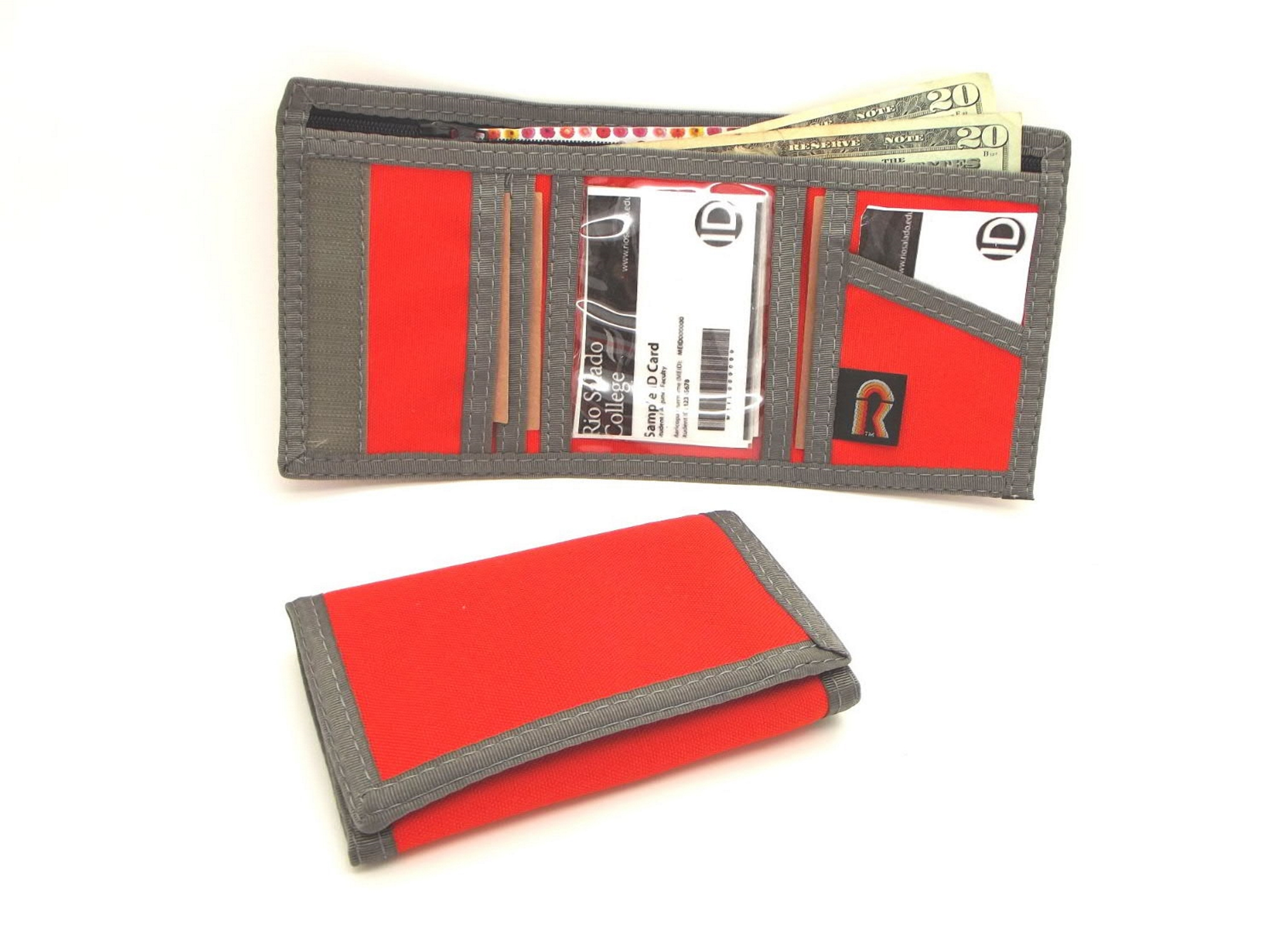 Rfid trifold wallet w inside id window rainbow of california for 2 id window wallet