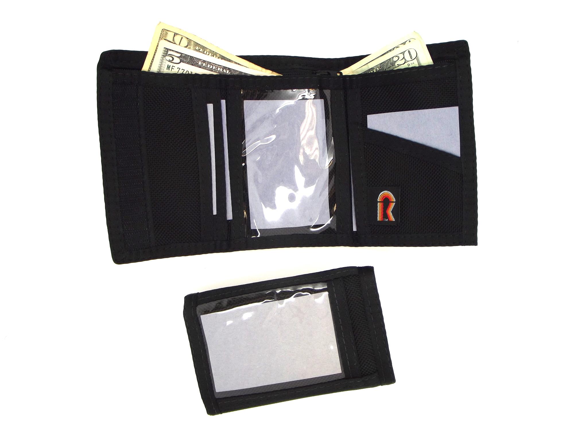 trifold black ballistc nylon inside outside window wallet made in